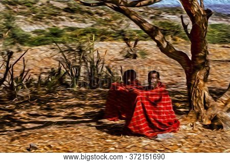 Serengeti, Tanzania - February 7, 1997. Men From The Maasai Tribe Wearing Typical Clothes Under Tree