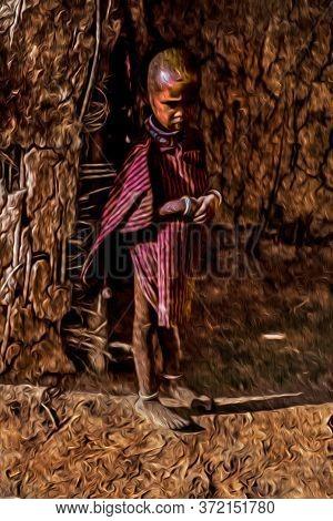 Serengeti, Tanzania - February 7, 1997. Inquisitive Child From The Maasai Tribe Wearing Typical Clot