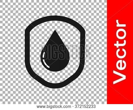 Black Waterproof Icon Isolated On Transparent Background. Water Resistant Or Liquid Protection Conce