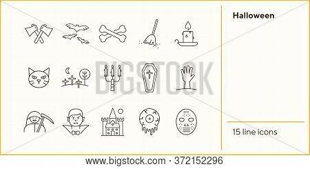 Halloween Line Icons. Coffin, Vampire, Crossed Bones. Halloween Concept. Vector Illustration Can Be