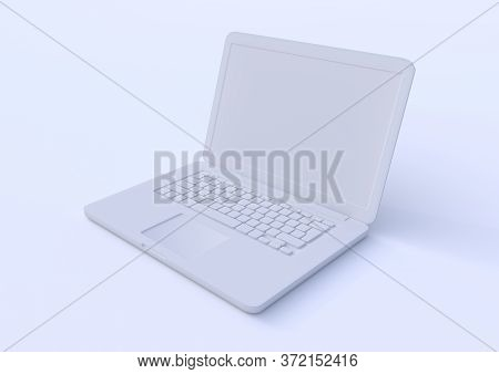 White Laptop Isolated On A White Background, Pastels Color Notebook, Portable Pc, Computer 3d Illust