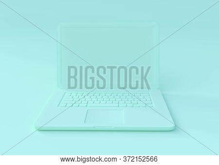 Aquamarine Laptop Isolated On A Aquamarine Background, Pastels Color Notebook, Portable Pc, Computer