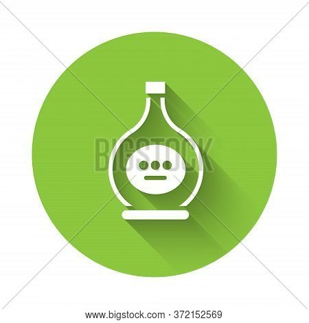 White Bottle Of Cognac Or Brandy Icon Isolated With Long Shadow. Green Circle Button. Vector Illustr