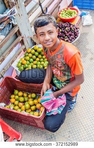 Sonargaon, Bangladesh - November 21, 2016: Fruit Seller In Sonargaon Town, Bangladesh