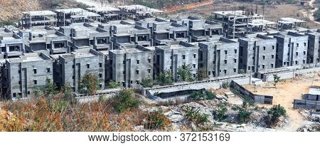 Hyderabad, INDIA - January 12 :Construction of  luxury villa homes in Hyderabad, India, on January 12 2018, Hyderabad, India