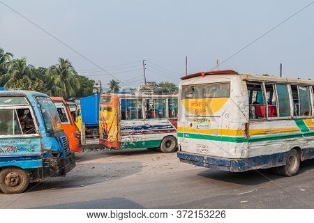 Dhaka, Bangladesh - November 21, 2016: View Of A Severely Battered Buses In Dhaka, Bangladesh
