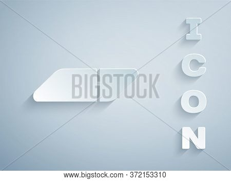 Paper Cut Eraser Or Rubber Icon Isolated On Grey Background. Paper Art Style. Vector Illustration.