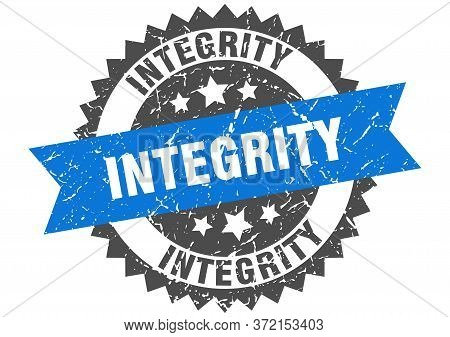 Integrity Grunge Stamp With Blue Band. Integrity