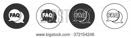 Black Speech Bubble With Text Faq Information Icon Isolated On White Background. Circle Button With
