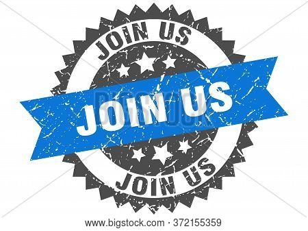 Join Us Grunge Stamp With Blue Band. Join Us
