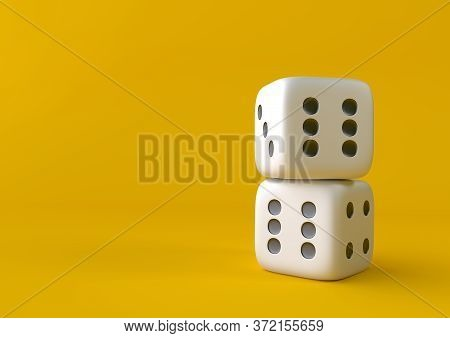 Cubes Dice Two White Dices On Yellow Background In Pastel Colors. Minimalism Concept. 3d Render Illu