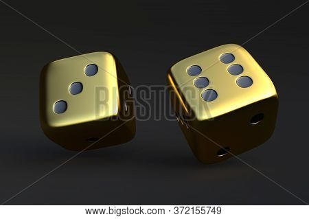 Two Rolling Dice, Poker Dice, Ivories, Bone, Devil's Bones On Dark Background In Gold Colors With Co