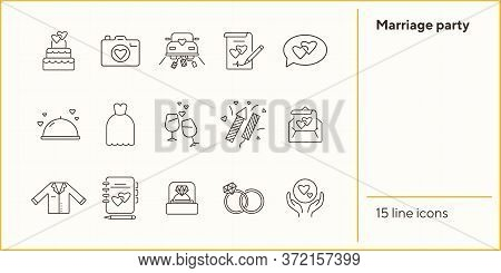 Marriage Party Line Icons. Set Of Line Icons. Wedding Ring, Just Married Car, Balloons. Wedding Conc