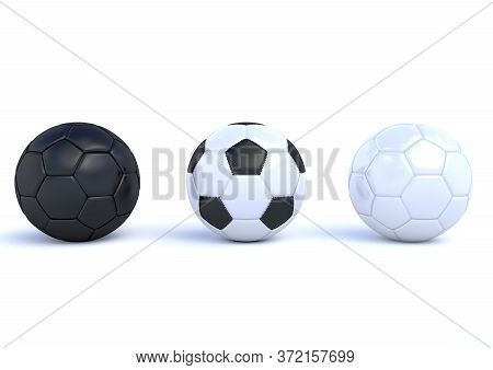 Set Of Realistic Soccer Balls Or Football Ball On White Background. Soccer Black And White Balls, Ba