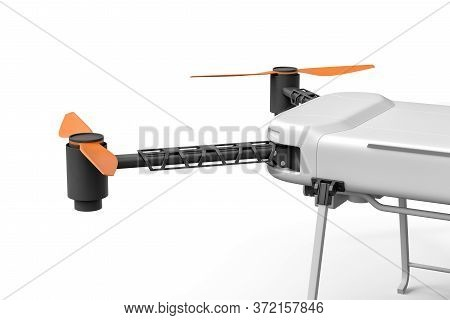 3d Close-up Rendering Of Part Of Light Gray Quadcopter With Camera, Standing Half-turned, On White B