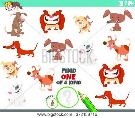 Cartoon Illustration Of Find One Of A Kind Picture Educational Game With Comic Dogs Animal Character