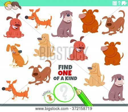 Cartoon Illustration Of Find One Of A Kind Picture Educational Task With Comic Dogs Animal Character