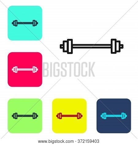 Black Line Barbell Icon Isolated On White Background. Muscle Lifting Icon, Fitness Barbell, Gym, Spo