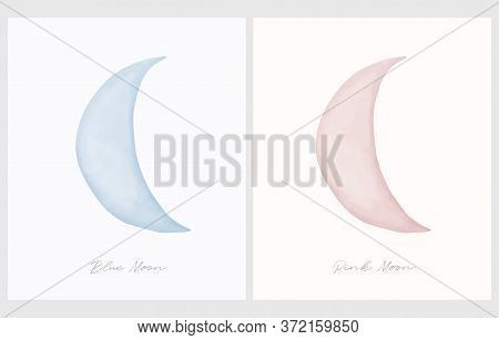 Pink Moon. Blue Moon. Simple Vector Illustration With Watercolor Style New Moon Ioslated On An Off-w