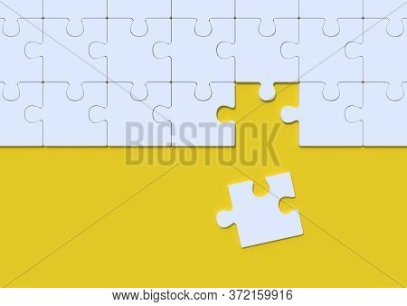 White Jigsaw Puzzle On Yellow Background With Copy Space. Connected Blank Puzzle Pieces. Business St