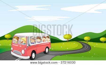 illustration of a bus and road in a beautiful nature