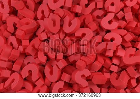 Infinite Red Question Marks, Business And Marketing Concepts, Original 3d Illustration. 3d Rendering