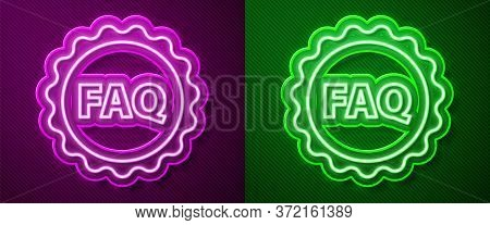 Glowing Neon Line Label With Text Faq Information Icon Isolated On Purple And Green Background. Circ