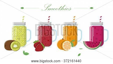 Fruit Smoothie In A Glass Jar With A Lid And A Straw. Set Of Vector Illustrations Of Drinks From Fre