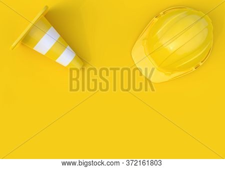 Under Construction, Traffic Cones And Safety Helmet, Isolated On Bright Yellow Background In Pastel