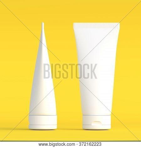White Cream Tube. Packaging Tube. Plastic Tube For Medicine Or Cosmetics Cream, Gel, Skin Care, Toot