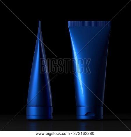 Blue Cream Tube. Packaging Tube. Plastic Tube For Medicine Or Cosmetics Cream, Gel, Skin Care, Tooth