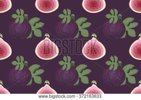 Seamless Pattern With Figs And Fig Leaves On A Bright Violet Background. For Paper, Covers, Fabrics,