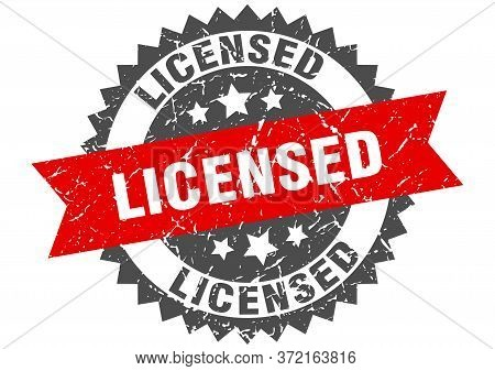 Licensed Grunge Stamp With Red Band. Licensed