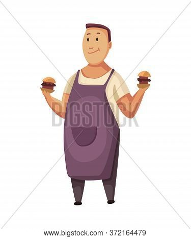 Bbq Party. Man With A Barbecue Grill. Picnic With Fresh Food. Happy Smiling Man Character Cooked A B