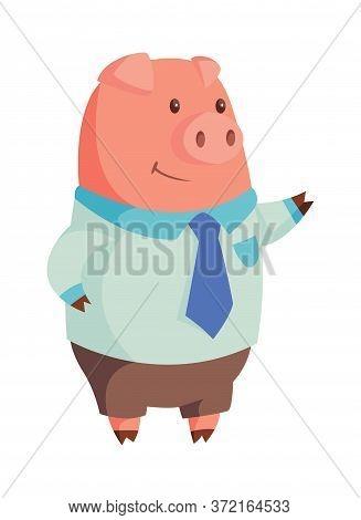 Cartoon Pig In Business Attire Raised Hand. Illustration For Funny Kids Game. T-shirt Vector Logo De