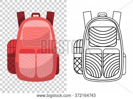Colorful School Backpack. Education And Study, Backpack Icon. Extravagant Student Satchel. Kids Scho