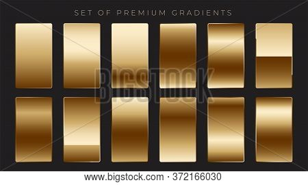 Shiny Mettalic Golden Gradients Collection Design Vector Illustration