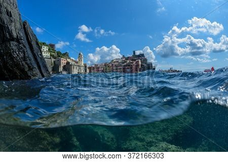 Vernazza (cinqueterre- Italy) Seen From The Sea During A Swim