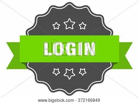 Login Isolated Seal. Login Green Label. Login