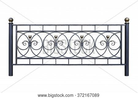 Durable Modern Wrought-iron Fence In The Old Style. Isolated On White Background.