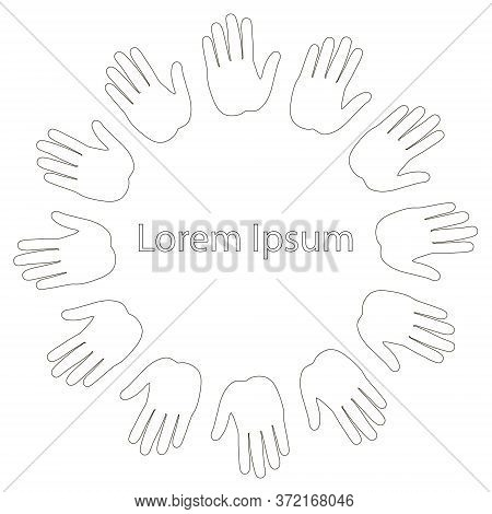 Palm Round Monochrome Background Lorem Ipsum Art Design Stock Vector Illustration For Web, For Print
