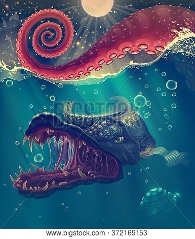 Sea Landscape With Red Octopus Tentacles Closeup In Water, Predator Under Water Fish, Wild Turtle An