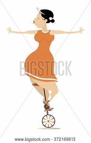 Sexy Plump Woman Rides On The Unicycle Illustration. Funny Plump Young Woman Balances On The Unicycl