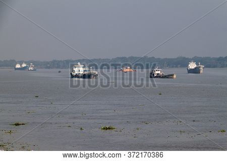 Morrelganj, Bangladesh - November 19, 2016: Small Ships On Pangunchi River Near Morrelganj Village,