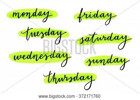 Vector Hand Lettering Weekday Names On White