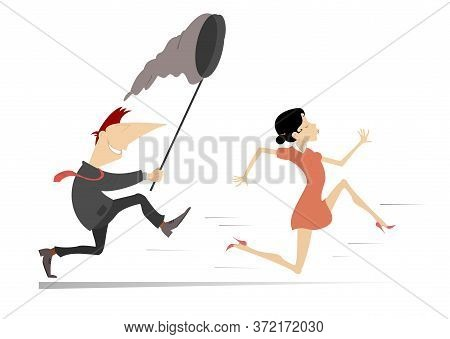 Smiling Man Tries To Catch A Running Young Woman With Butterfly Net Illustration. Young Woman Runs A