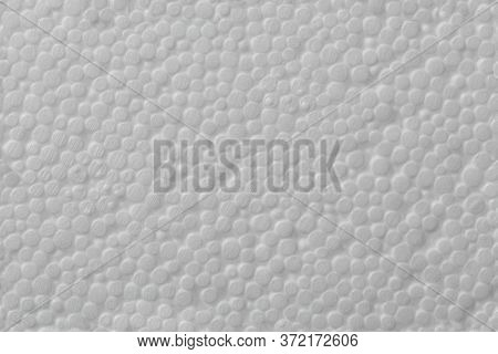 Simple Texture Of White Polystyrene Foam Or Styrofoam, Close-up Flat White On White Background