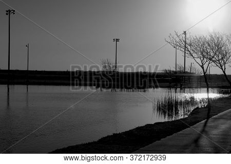 Daybreak At South East City Park Public Fishing Lake, Canyon, Texas.