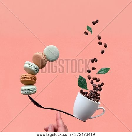 Equilibrium Concept Flat Lay On Coral Paper Background, Square Composition. Creative Coffee Drink Ba