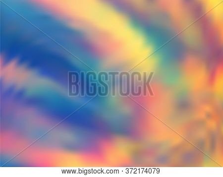 Holographic Gradient Neon Vector Illustration. Elegant Neon Party Graphics Background. Liquid Colors